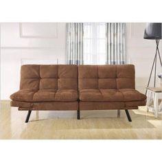 Brown Sofa Bed Futon Set Tufted Mattress Adjule Sleeper Couch Microfiber