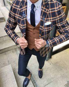 It comes with a special gift of a leather wallet. Mens Fashion Suits, Mens Suits, Plaid Suit, Suit Vest, Navy Blue Suit, Grey Suits, Checked Suit, Designer Suits For Men, Bespoke Suit