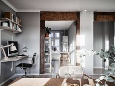 I like the warm details of the wooden and leather furniture and accessories against the cool grey walls. The cork dining table with a mix of chairs in leather and wood really is the centrepiece of this home and I … Continue reading → Best Interior Paint, Gray Interior, Interior Decorating, Interior Design, Decorating Ideas, Decor Ideas, Simply Home, Blog Deco, Leather Furniture