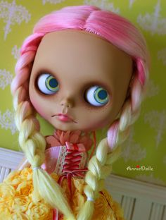 Complete OOAK Custom Blythe Reroot Art Doll 'Pinkie' by anniedollz       #doll #blythe #ooak