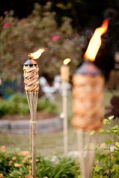 Tiki torches for a luau party Hawaian Party, Hawiian Party Food, Backyard Bbq, Wedding Backyard, Backyard Bonfire Party, Luau Wedding, Wedding Reception Bbq, Trendy Wedding, Wedding Bonfire