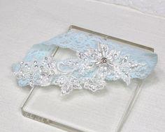 Braut Strumpfband Spitzen-Strumpfband blaue Spitze