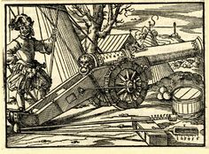 Artist: Amman, Jost, Title:     Illustrations to Fronsperger's 'Kriegsbuch', A cannon pointed right, Date: 1573