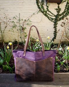 Waxed canvas tote bag  wax canvas bag  shoulder strap by Tram21