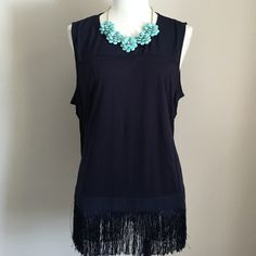 NWT J. Crew Navy Fringe Tank Top! NWT J. Crew Fringe Tank Top. Navy. Size: XL. Fun fringe at hemline adds detail & would be great for festival season! Color: Navy. Size: XL. Cotton/poly blend, machine washable. J. Crew Tops Tank Tops