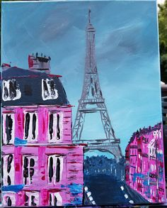 Items similar to Eiffel Tower Painting on Canvas, Original Abstract Pink/Blue, Paris on Etsy Eiffel Tower Painting, Original Artwork, Original Paintings, French Artists, Canvas Size, Color Schemes, Art Gallery, Paris, The Originals