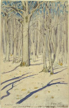 Maurice DENIS (French, 1870-1943), Sous-bois en hiver, 1889.