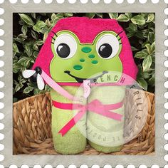 Frog Girl hooded towel design. #Embroidery #Applique