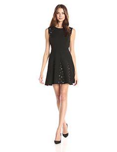 BCBGMax Azria Womens Ericka Woven Cocktail Dress Black 8 >>> Click image for more details.