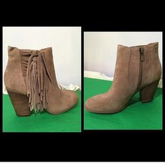 Tan suede fringe bootie Tan suede bootie. True to size. Vince camuto. Never worn. All sales final.  No trades Vince Camuto Shoes Ankle Boots & Booties