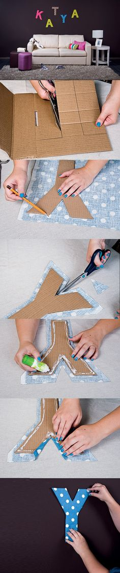Wall Art Ideas Diy Projects: Fabric and Cardboard Wall Letters DIY - where was this when I was fixing up the babys nursery.Diy Projects: Fabric and Cardboard Wall Letters DIY - where was this when I was fixing up the babys nursery. Easy Crafts, Diy And Crafts, Crafts For Kids, Arts And Crafts, Kids Diy, Creative Crafts, Diy Letters, Letter A Crafts, Fabric Letters