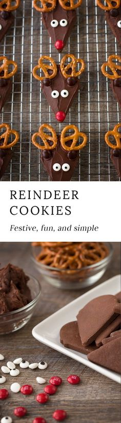 Rich Chocolate Reindeer Cookies are an easy, whimsical, and festive treat for Christmas. Use an ice cream cone cookie cutter for the perfect reindeer shape! #christmascookies #christmas #cookies via @https://www.pinterest.com/fireflymudpie/