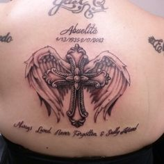 memory garden tattoo | ... wings. #blackandgray #cross #wings #memorial #tattoo #dynastytattoonj