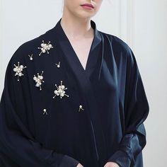 Image may contain: one or more people Modern Abaya, Modern Hijab Fashion, Abaya Fashion, Modest Fashion, Silk Robe Long, Modele Hijab, Arabic Dress, Sequin Appliques, Embroidery On Clothes