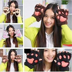 50% OFF SALE PRICE - $6.99 - APAS Women Winter Fluffy Bear Cat Plush Paw Claw Glove Half Finger Cute Gloves Mittens
