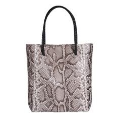 """Python tote with black woven shoulder straps with matching python strap holder. Coin purse and vanity mirror included. Approx. 15"""""""" x 14"""""""" x 5"""""""". All orders over $100 within the U.S. qualify for FREE"""