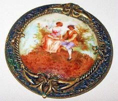 Victorian Porcelain Brooch Hand Painted Colonial Scene