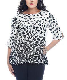Look at this #zulilyfind! White & Black Floral Cutout Top - Plus by Hug Plus #zulilyfinds