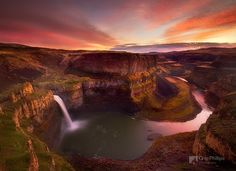 Palouse Falls Sunset, just one of many waterfalls from the Pacific Northwest shown in this gallery.