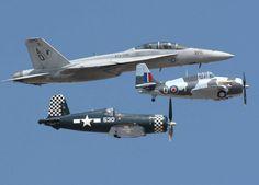 Patrol of one corsair, wildcat & F-18