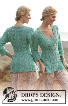 """Knitted DROPS fitted jacket with lace pattern and ¾ sleeves in """"Muskat"""" or """"Cotton Light"""". Size: S - XXXL. ~ DROPS Design"""