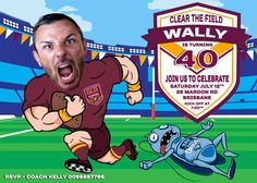 State of Origin Invitation, Blues, Maroons caricature. NSW blues, Qld Maroons…