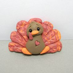 Polymer Clay Turkey Holiday Pin.