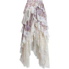 ZIMMERMANN Stranded Opus Tier Skirt (9.100 NOK) ❤ liked on Polyvore featuring skirts, zimmermann, tiered ruffle skirt, asymmetrical skirt, ivory skirt, crinkle skirt and lace skirt