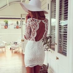 Lace Bodycon Dress in white