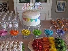 Rainbow themed decorations!!! So cute and easy and colorful!!!