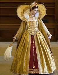 Full image of Elizabethan gold dress with large neck collar. Full image of Elizabethan gold dress with large neck collar. Elizabethan Clothing, Elizabethan Dress, Elizabethan Fashion, Medieval Clothing, Historical Clothing, Historical Dress, Renaissance Mode, Renaissance Fashion, Renaissance Portraits