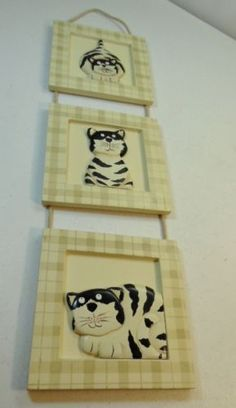 3-Tiered-Framed-Black-and-White-Fat-Cats-Connected-by-Rope-Funny