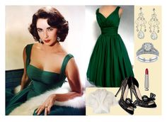 """""""Elizabeth's emerald dress"""" by cea1509 ❤ liked on Polyvore featuring Elizabeth Taylor, Etiquette, Valentino and Brunello Cucinelli"""