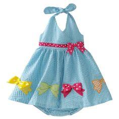 Bonnie Baby Girls' Seersucker Halter Dress with Bows, Turquoise, 12 Months Baby Dress Design, Baby Girl Dress Patterns, Baby Girl Dresses, Little Girl Outfits, Little Girl Dresses, Kids Outfits, Toddler Dress, Toddler Girl, Baby Girls
