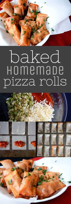 Skip the unrecognizable ingredients, and make up a batch of Baked Homemade Pizza Rolls right in your own kitchen! Perfect for game day snacking. Party Platters, Homemade Pizza Rolls, Homemade Frozen Pizza, Wonton Wraps, Cooking Recipes, Healthy Recipes, Skillet Recipes, Cooking Tools, Healthy Foods