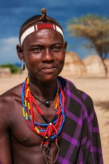 Portrait of young man from Erbore tribe, Ethiopia, Africa stock photo