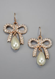 LOLITA Crystal Bow Faux Pearl Teardrop Earrings $24.99