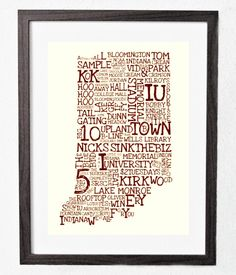 """March Madness Sale - INDIANA UNIVERSITY, Bloomington, IN Typography 11"""" x 17"""" Print - perfect gift. $15.00, via Etsy."""