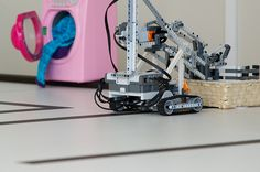 A laundry robot that sorts socks by colour and places them in different baskets while it chats with the washing machine.   Built with Lego Mindstorms, on the Ericsson Social Web of Things platform.