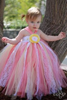Coral and Yellow Vintage Style Tutu Dress 12 months by lovebug11, $58.00