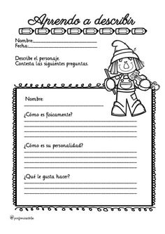 Otra colaboración de Mirian se trata de una serie de divertidas actividades para trabajar la descripción realizados por profe Miricleta.  DESCARGA EL ARCHIVO EN PDF Conjunto de fichas para … Spanish Classroom, First Grade, Teaching, Activities, Writing, Education, Memes, School, Colors