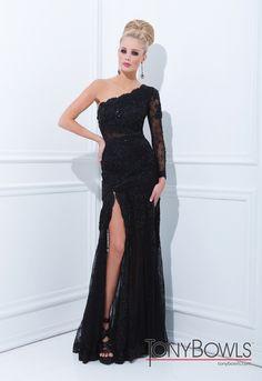 long black formal dress with one shoulder sleeve