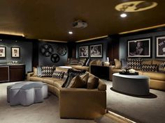 Curved sofa design man caves home theater rooms, entertainme Home Entertainment, Movie Theater Rooms, Cinema Room, Casa Clean, Old Houses For Sale, Curved Sofa, Home Theater Design, Game Room, Family Room