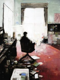 Geoffrey Johnson, Charles in the Studio, 2014, Oil on panel, 32 x 24 inches