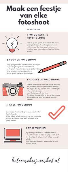 Tips voor jouw fotoshoot. Voor, tijdens en na de fotoshoot kun je je als fotograaf heel veel doen om betere foto's te maken. Via de link vind je nog veel meer tips.