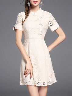 Shop Mini Dresses - Khaki Girly Stand Collar Lace Mini Dress online. Discover unique designers fashion at StyleWe.com.