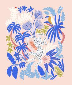 Rainforest Leopard Acrylic Box by Megan Galante - 4 X 4 X 3 Jungle Pattern, Illustration Inspiration, Illustration Art, Elephant Illustration, Adobe Illustrator, Motif Tropical, Pink Palette, Jungle Print, Form Design