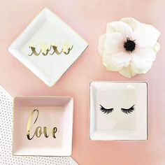 """Wedding and Bridesmaid Gift The perfect bridesmaid or wedding gift idea! This gorgeous ring/jewelry dish would make the ultimate bridal party gift/s. Fill your bridesmaid proposal gift box with these stunning organizers. With so many uses the possibilities are endless. Use it as a ring dish, jewelry dish, or small cosmetics, Ring dishes are available in white, pink, mint and black ceramic with metallic gold rims and your design choice of """"Hello Beautiful"""", """"Love"""", """"XOXO"""", """"XO"""", """"Future Mrs."""" in Bridesmaid Rings, Bridesmaid Proposal Gifts, Bridesmaids, Jewelry Tray, Jewelry Dish, Gifts For Friends, Gifts For Her, Girly, Ring Dish"""