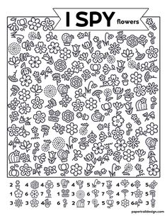Free Printable I Spy Flowers Activity - Paper Trail Design Preschool Learning Activities, Spring Activities, Party Activities, Kids Learning, Activity Sheets For Kids, Spy Kids, Hidden Pictures, Paper Trail, I Spy