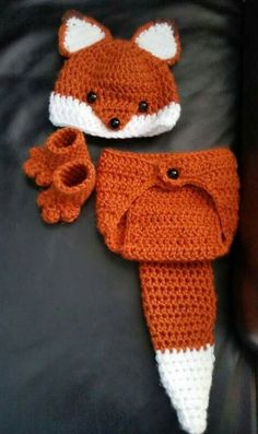 Crochet Newborn Fox Outfit – Baby Girl or Boy Woodland Costume – Photo Prop . Crochet Newborn Fox Outfit – Baby Girl or Boy Woodland Costume – Photo Prop – Beanie Hat, Diaper Cover, and Booties. Crochet Bebe, Crochet For Kids, Knit Crochet, Crochet Hats, Booties Crochet, Crochet Pillow, Crochet Cardigan, Crochet Granny, Free Crochet